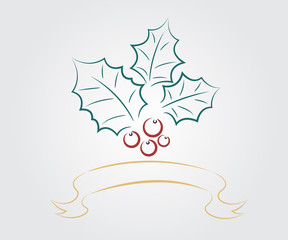 christmas leaf with ribbon background