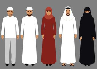 vector illustration, arabic people, arab woman, arabian man