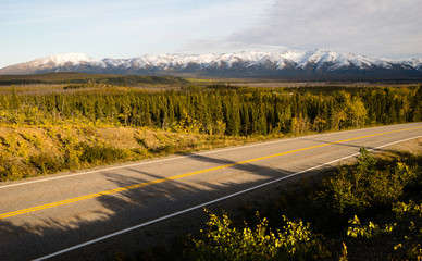 Fototapete - Highway Passes Through Changing Colors Alaska Mountains Autumn