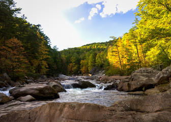 A bright and sunny day at designated wild and scenic river in western North Carolina called Wilson Creek.