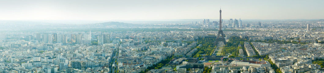 Panoramic view of the Eiffel tower, Paris, France, Europe.