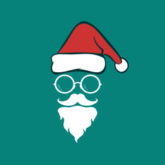 Santa hats and beards and eyeglasses on blue background. Christm