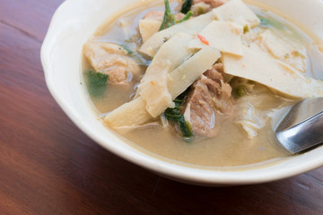 thai food, bamboo shoot soup northern style curry of thailand