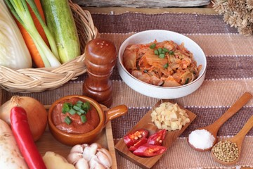 Kimchi of korean food traditional.