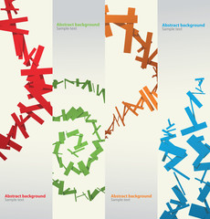 Vector Cubist backgrounds set. Image of four banners made of some number rectangular objects of different colors (red, green, orange, blue) like Cubist on a light background.