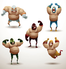 Vector Mexican wrestlers Set. Cartoon image of five Mexican wrestlers in different colors masks, pants and gloves on a light background.
