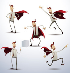 Vector Super office man, set. Cartoon image of five office men in gray trousers, white shirt, red tie and a red cloak, in different poses as a superhero, on a light background.