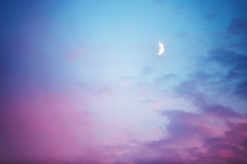 Moon and clouds, abstract background