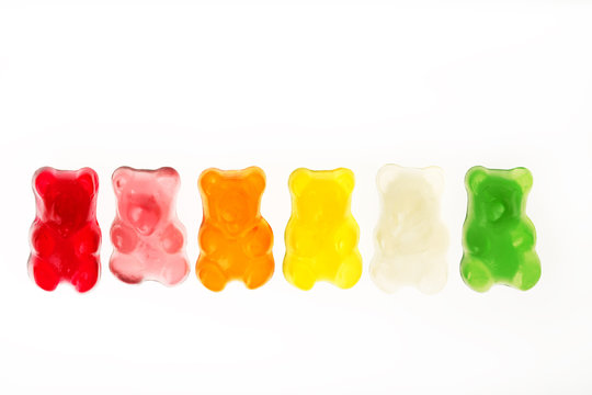 Childhood jelly bears candies isolated on white background