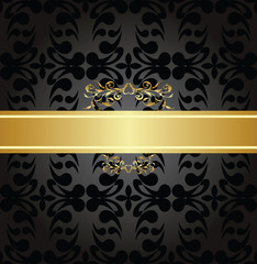 Elegant charcoal seamless pattern with gold banner