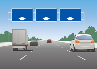 Highway sign and vehicles, vector illustration