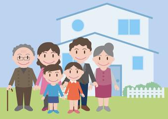 three generation family, vector illustration