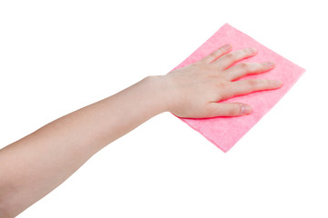 hand with pink washing rag isolated on white