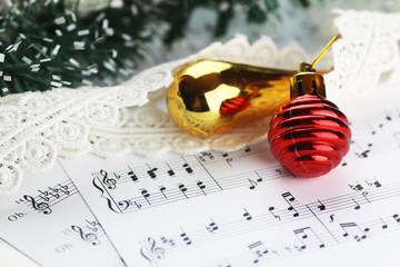notes and Christmas balls