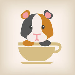 Gatsby rat face with coffee cup logo vector.