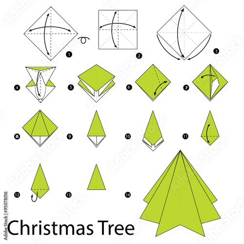 Step By Step Instructions How To Make Origami Christmas Tree Stock