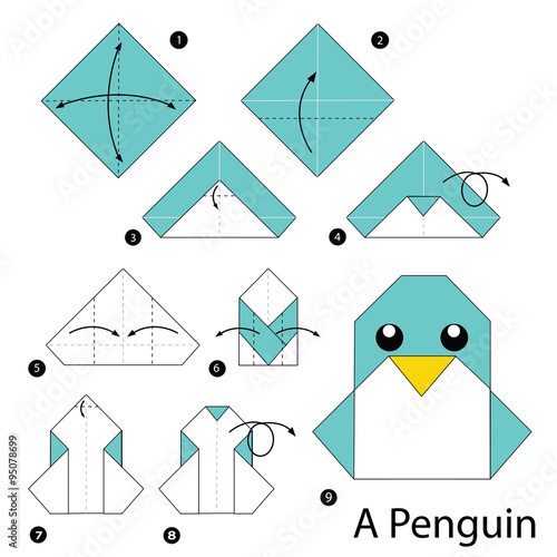 Step by step instructions how to make origami penguin for Origami swan easy step by step
