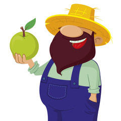 happy bearded farmer holding a green apple