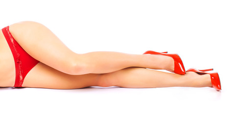 Woman in red shoes and underwear. isolated