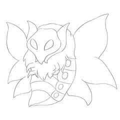 Butterfly Monster Line Art - Creature Design
