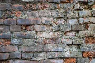 Old and broken brick wall. Grunge texture background.