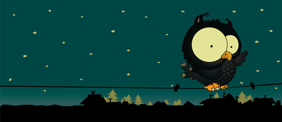 Little owl.Cute and sweet looking cartoon character.Night scene with stars,roofs and trees.vector illustration