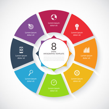 Vector infographic circle template. 8 steps, parts, options, stages business concept
