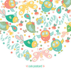 Cheerful party. Kids vector postcard.