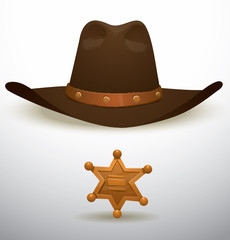 Vector Cowboy's hat and sheriff's star. Cartoon image of a brown cowboy's hat and a gold sheriff's star on a light background.