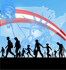 immigration people on usa flag