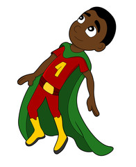 Illustration of cute flying African American superhero boy wearing red and yellow costume and green cape, isolated on a white background