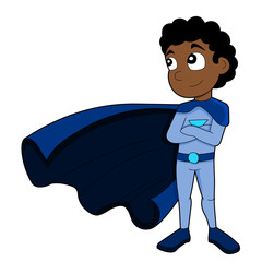 Illustration of cute African American superhero boy wearing blue costume and cape, isolated on a white background.