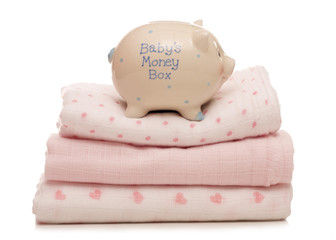 Saving for a baby girl piggybank