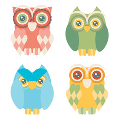 Set of four owls isolated on white background. Flat icons.