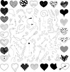 Doodle vector arrows and hearts