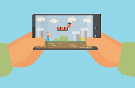 Mobile gaming concept , flat design , eps10 vector format