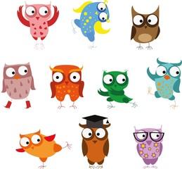Set of vector cartoon birds