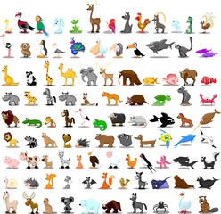 Set of 100 cute cartoon animals