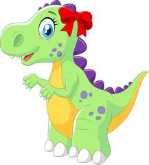 Cartoon female dinosaur isolated on white background