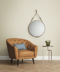 Mustard tufted leather armchair with a hanging mirror