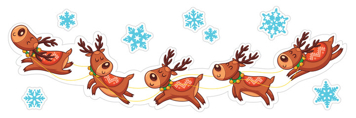 Cartoon deers, Christmas stickers