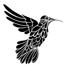Humming-bird silhouette, graphic drawing