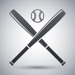 Vector baseball bats and ball icon