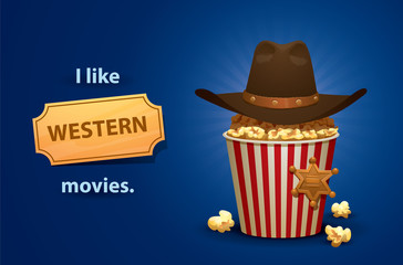 Vector Western movies. Cartoon image of a red and white popcorn bucket with brown cowboy's hat on top and gold sheriff's star, symbolizing a Western movies on a bright blue background.