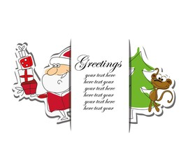 Christmas set of santa clauses and symbol of the year - monkey