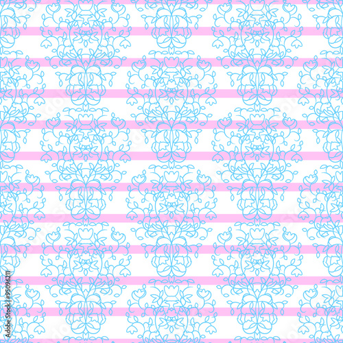 blue on pink stripes elegant border in damask retro style leaf