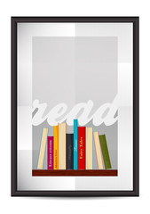 Vector realistic frame with folded paper and text Read, books, poster mock up design