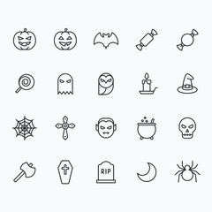 Halloween icons for web and mobile. Outline vector icons, 2 pixel stroke thin