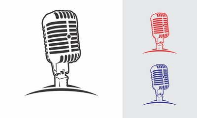 microphone logo design vector silhouette