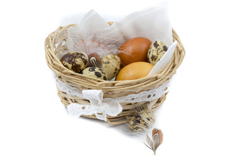 quail and chicken eggs in a nice basket